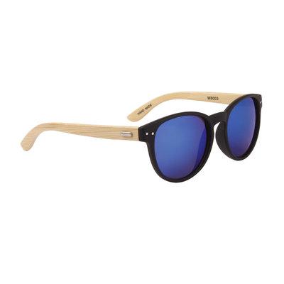 Houten zonnebril, Handgemaakt, Ovale glazen, Zwart