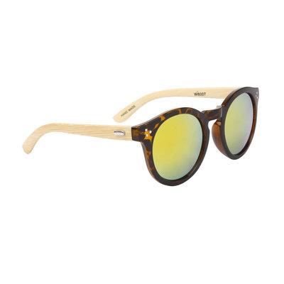 Houten zonnebril, Handgemaakt, Ronde glazen, Tortoise