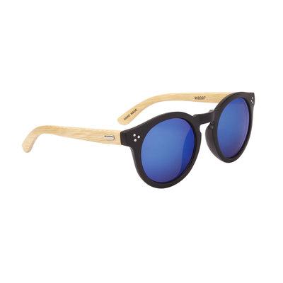 Houten zonnebril, Handgemaakt, Ronde glazen, Zwart