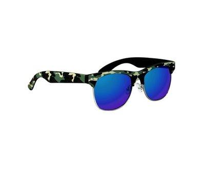 Clubmaster zonnebril Oklahoma, Legerprint, Licht groen