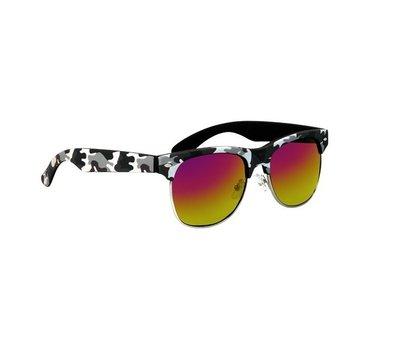 Clubmaster zonnebril Oklahoma, Legerprint, Zwart-wit
