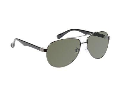 Gepolariseerde pilotenbril, Zonnebril El Paso, Zwart met donkere groene glazen