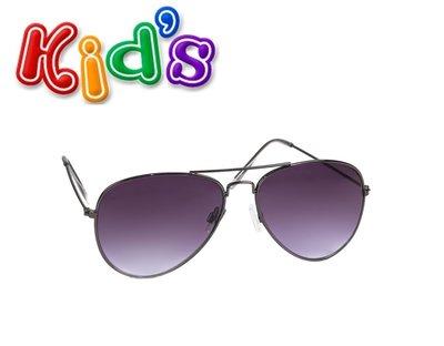 Kinder zonnebril, pilotenbril Denver, Zilver met donkere glazen