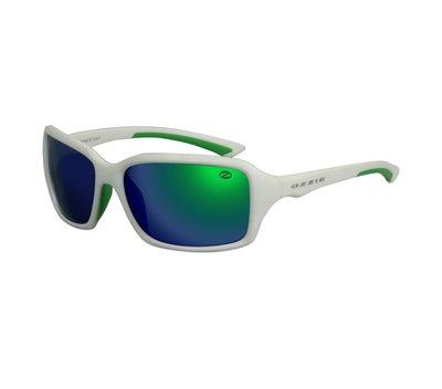 Ozzie zonnebril, Mesa, Sportief, Wit met groen-blauwe glazen