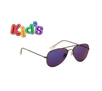 Kinderzonnebril, Pilotenbril, Havana, Blauw